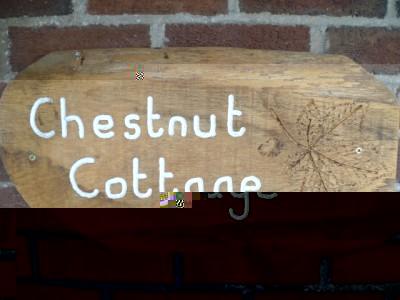 group holiday shrewsbury, chestnut cottage sign